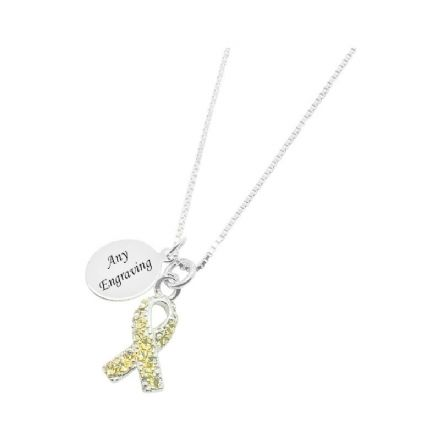 Yellow Crystal Awareness Necklace with Engraving